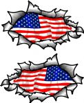 Small handed Oval Ripped Pair Metal Design With US American Flag Vinyl Car Sticker 85x50mm Each